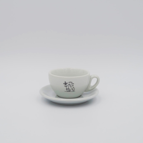 Flat white cup with saucer. Stylish and heavyweight porcelain flat white cup with saucer